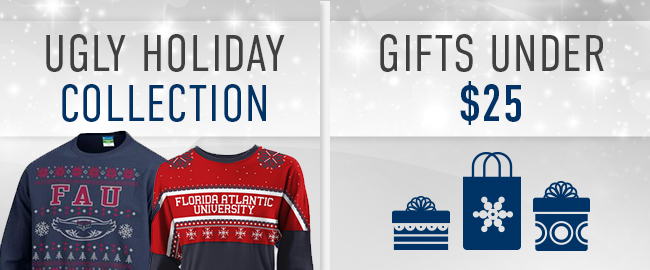 Picture of ugly sweater. Click to shop the ugly sweater collection. Picture of gifts and gift bags. Click to shop gifts under $25.