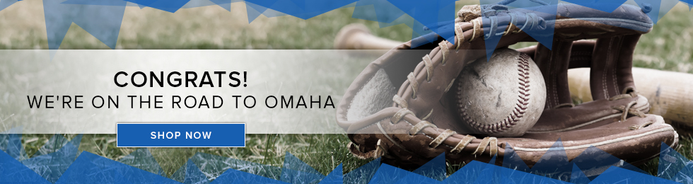 Picture of baseball glove. Congrats! We're on the road to Omaha. Click to shop now.