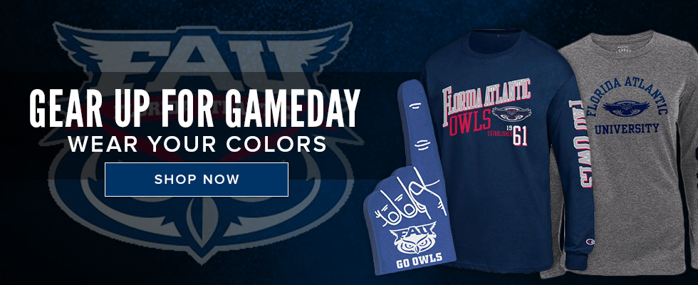 Picture of sports apparel. Gear Up for the Game Day. Wear your colors. Click to shop now.